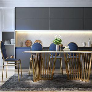 现代金属餐桌椅组合3d模型
