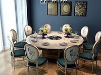 火锅桌椅组合3d模型