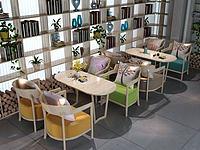 现代奶茶店桌椅组合3d模型