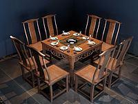 新中式火锅桌椅组合3d模型