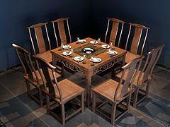 新中式火锅桌椅组合模型3d模型