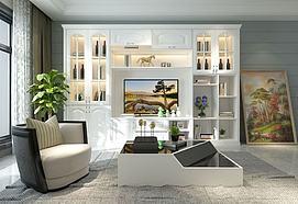 美式组合电视柜模型