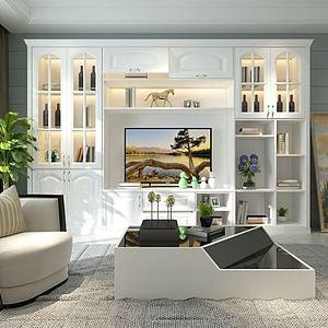 3d美式客廳模型
