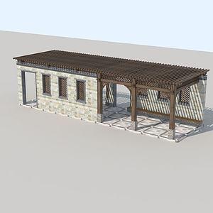 戶外花架長廊3d模型