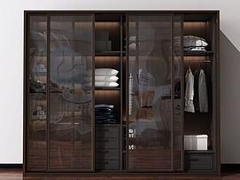 现代北欧衣柜装饰柜模型