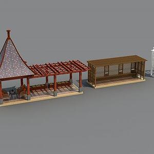 花架亭子3d模型