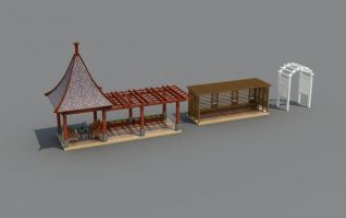 3d花架亭子模型