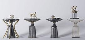 现代金属茶几装饰品模型