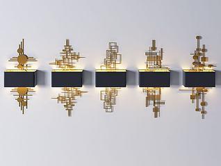 后现代金属壁灯组合3d模型