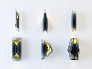 后现代玻璃金属壁灯组合3d模型