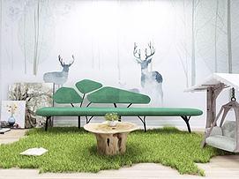 自然风绿色休闲沙发组合模型
