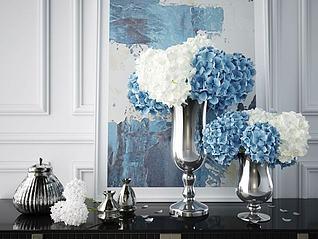 现代电镀渐变花瓶摆件组合3d模型