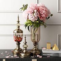 欧式玻璃金属花瓶书籍摆件3d模型