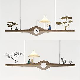 中式禅意实木吊灯模型
