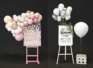 婚庆婚礼气球海报展架3d模型
