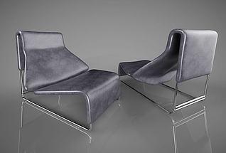 现代北欧皮革沙发3d模型
