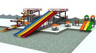 高层大型滑梯3d模型