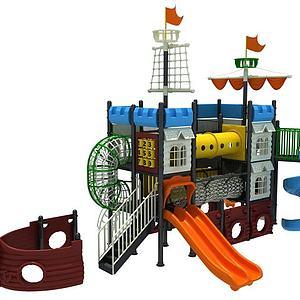 海盗船滑梯大型游乐设施模型