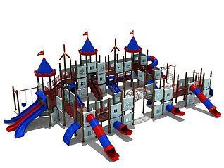 大型城堡滑梯儿童游乐设施3d模型