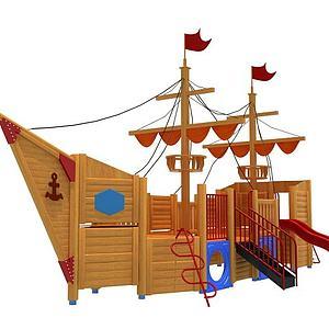 木制海盗船滑梯模型