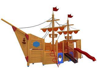 木制海盗船滑梯3d模型