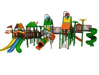 3d大型滑梯儿童游乐设施模型