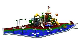 小区游乐设施滑梯健身器材3d模型