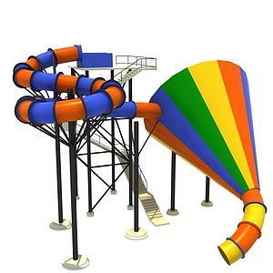 水上乐园大喇叭滑梯模型