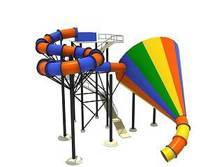 水上乐园大喇叭滑梯3d模型
