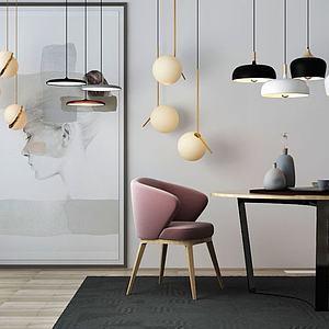 3d北欧桌子摆件吊灯模型