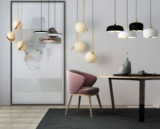 北欧桌子摆件吊灯3d模型