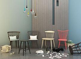 单人椅组合模型