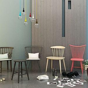 3d单人椅组合模型