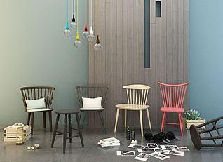 单人椅组合3d模型