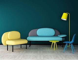 3d北欧创意沙发组合模型