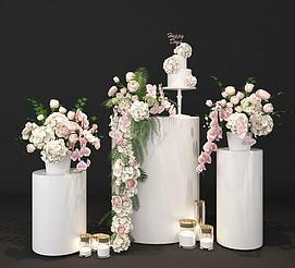 婚庆婚礼花艺展厅展示美陈模型
