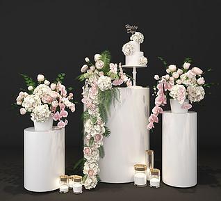 3d婚庆婚礼花艺展厅展示美陈模型