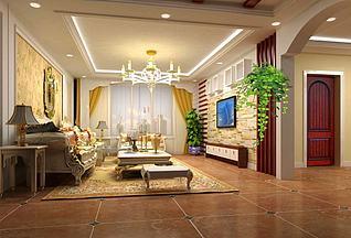 3d家装客厅模型