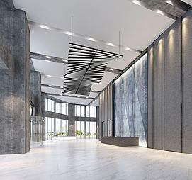 现代科技写字楼大厅模型