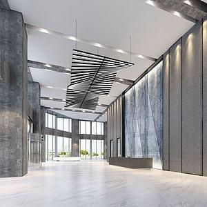 3d现代科技写字楼大厅模型
