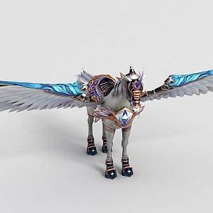 游戏道具白马飞马模型3d模型