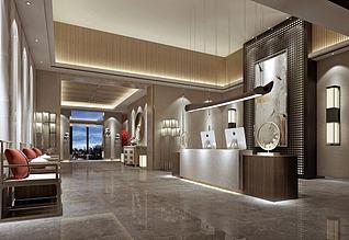 3d五星级酒店前台服务台模型
