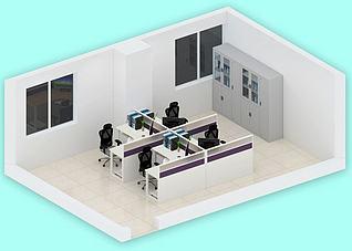 办公室简约布局3d模型