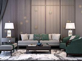 新中式沙发茶几组合模型