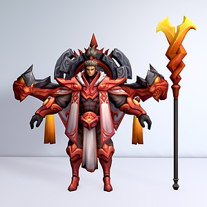 C4D王者榮耀游戲男角色模型