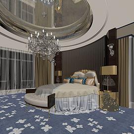 欧式圆床模型