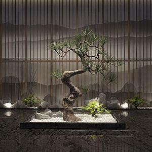 新中式松树假山摆件组合模型