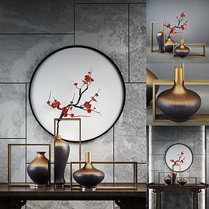 3d新中式輕奢花瓶擺件組合模型