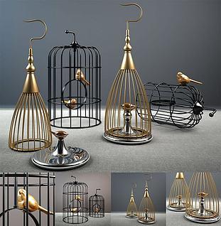 北欧金属鸟笼摆件组合3d模型