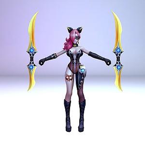 王者榮耀2013游戲女角色模型3d模型